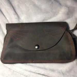Handbags - Brown western wristlet clutch